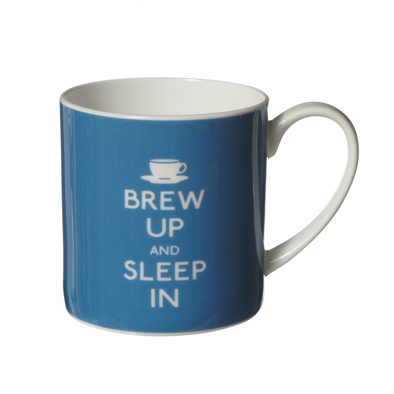 "Cana de portelan ""Brew Up and Sleep In"" Turquoise"